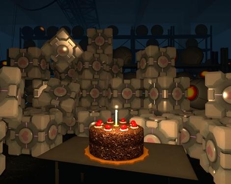 Weighted Companion Cubes and the rumoured cake, both Internet celebrities.